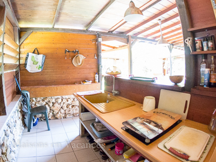 The kitchen of the holiday rental Villa at Sainte-Anne ,Guadeloupe